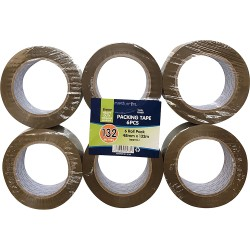 6 Pack 132 Metre Brown Tape