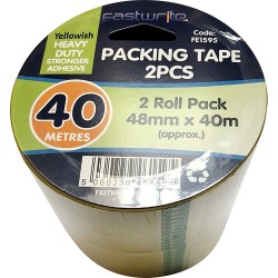 2 Pack 40 Metre Clear Tape