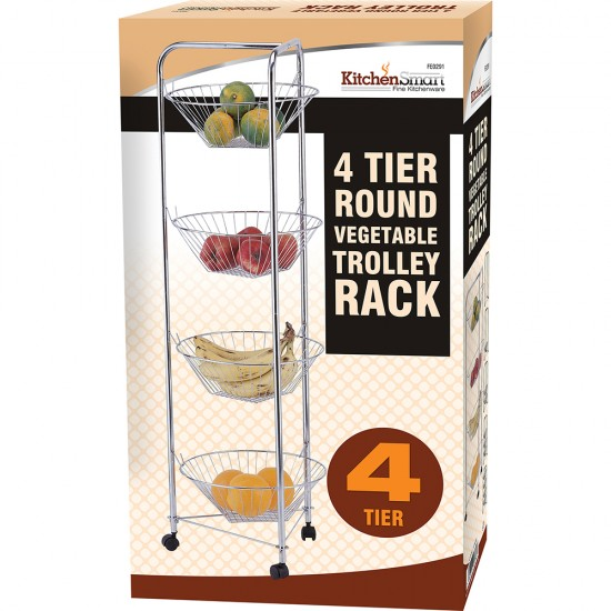 4 TIER CHROME PLATED KITCHEN FRUIT CART VEGETABLE TROLLEY STORAGE STAND RACK NEW