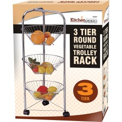 3 TIER CHROME PLATED KITCHEN FRUIT CART VEGETABLE TROLLEY STORAGE STAND RACK NEW