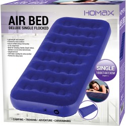 INFLATABLE SINGLE FLOCKED AIR BED CAMPING LUXURY RELAXING AIRBED MATTRESS