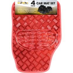Red Shiny Car Mat Set