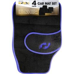 NEW 4PC UNIVERSAL NON SLIP BLUE CARPET CAR MAT SET REAR FRONT BLACK FLOOR MATS