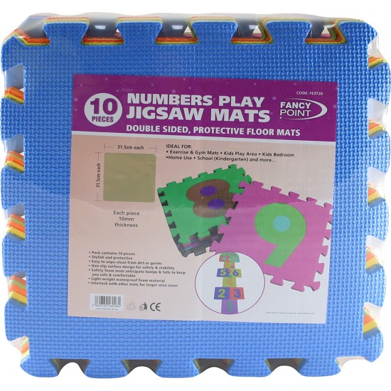 0-9 NUMBERS 10PCS LARGE BABY CHILDREN PLAY MAT SOFT FOAM JIGSAW LEARNING PUZZLE