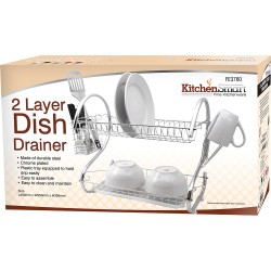 2 Tier Dish Drainer Ideal for Plates 7 Kitchenware as well as Cutlery, Spoons, Knives, Forks & Cups
