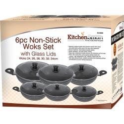 24-34 6 Pcs Non-Stick Wok Set