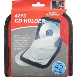 42 CD DVD Carry Case Disc Storage Holder CD Sleeve Wallet Ideal for In Car BLACK