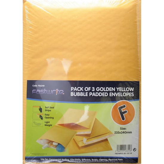 3 Pack Bubble Padded Envelope (F)