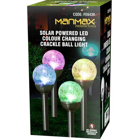 Stainless Steel Solar Powered Colour Changing LED Orb Glass Ball Garden Post Light