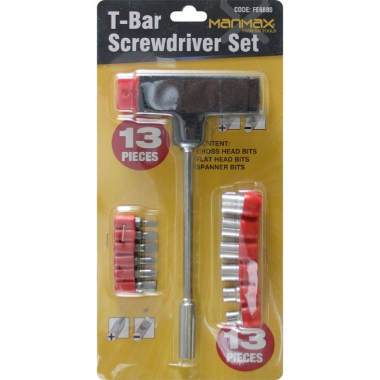 T BAR HANDLE SCREWDRIVER SET + 13 BITS SOCKETS HOLDER T-BAR SOCKET