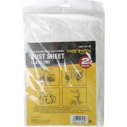 NEW 2PC DECORATING PAINT COVE POLYTHENE WATERPROOF PLASTIC CLEAR DUST SHEET