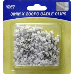 NEW WHITE PLASTIC CABLE CLIPS WITH NAIL TV AERIAL CABLES WALL MOUNTING 3MM 200PC