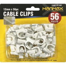 NEW 56PC WHITE PLASTIC CABLE CLIPS + NAILS WALL MOUNTING TV AERIAL CABLES 12MM