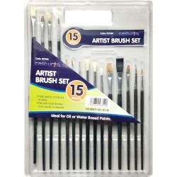 NEW 15PC BRUSHES SET ARTIST PAINT BRUSH FLAT SMALL TIPPED CRAFT ART PAINTING