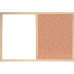 Plain & White NEW 40 X 60CM WOODEN FRAME CORK AND WHITEBOARD PIN NOTICE MEMO NOTES MESSAGE BOARD
