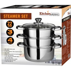 3pc 22CM Set Stainless Steel Steamer asserole Glass Lid Aluminium Cook Quality