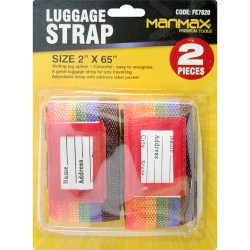 NEW 2PC COLOUR LUGGAGE ADJUSTABLE STRAP BAG ADDRESS TAGS TRAVELING STRAPS