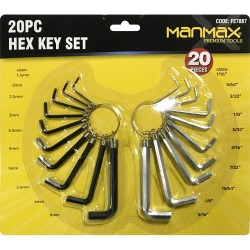 20 PCS HEX ALLAN KEY SET HEXAGON AND METRIC SIZE ALLAN KEY WRENCH SET