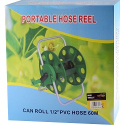 PORTABLE HOSE REEL 60M GARDEN WATERING PIPE CART FREE STANDING COMPACT WINDER