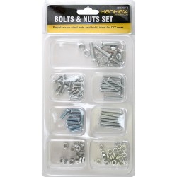 60PC ASSORTED 6 SIZES BOLTS AND NUTS SET OF 50 SLOTTED CROSS HEAD BOLT & NUT NEW