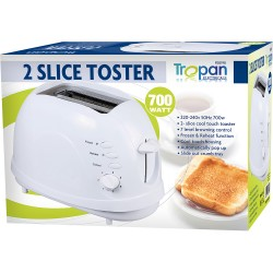 NEW 2 Slice 700W Easy Clean | Non Stick | Toaster | White Defrost Function