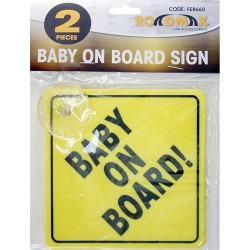 2pc Baby on Board Plastic Yellow Colour Vehicle Car Safety Sign Suction Hooks