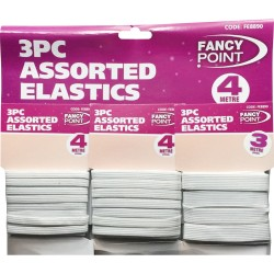 3PC ASSORTED WHITE ELASTIC BANDS ELASTIC SWING BRAND NEW HIGH QUALITY 4mm & 3mm